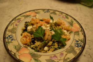 shrimp asparagus grain bowl